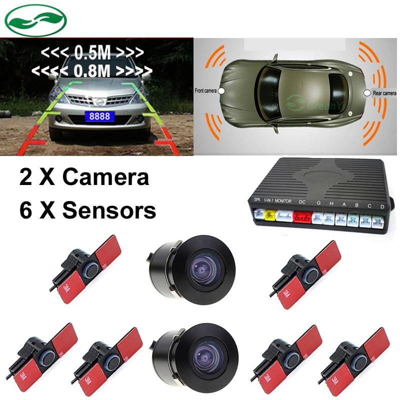 GreenYi 16 мм без каблука Сенсор s, автомобиль видео парковка Сенсор реверсивный радар помощь спереди и сзади Сенсор s 2 Камера для TFT монитором