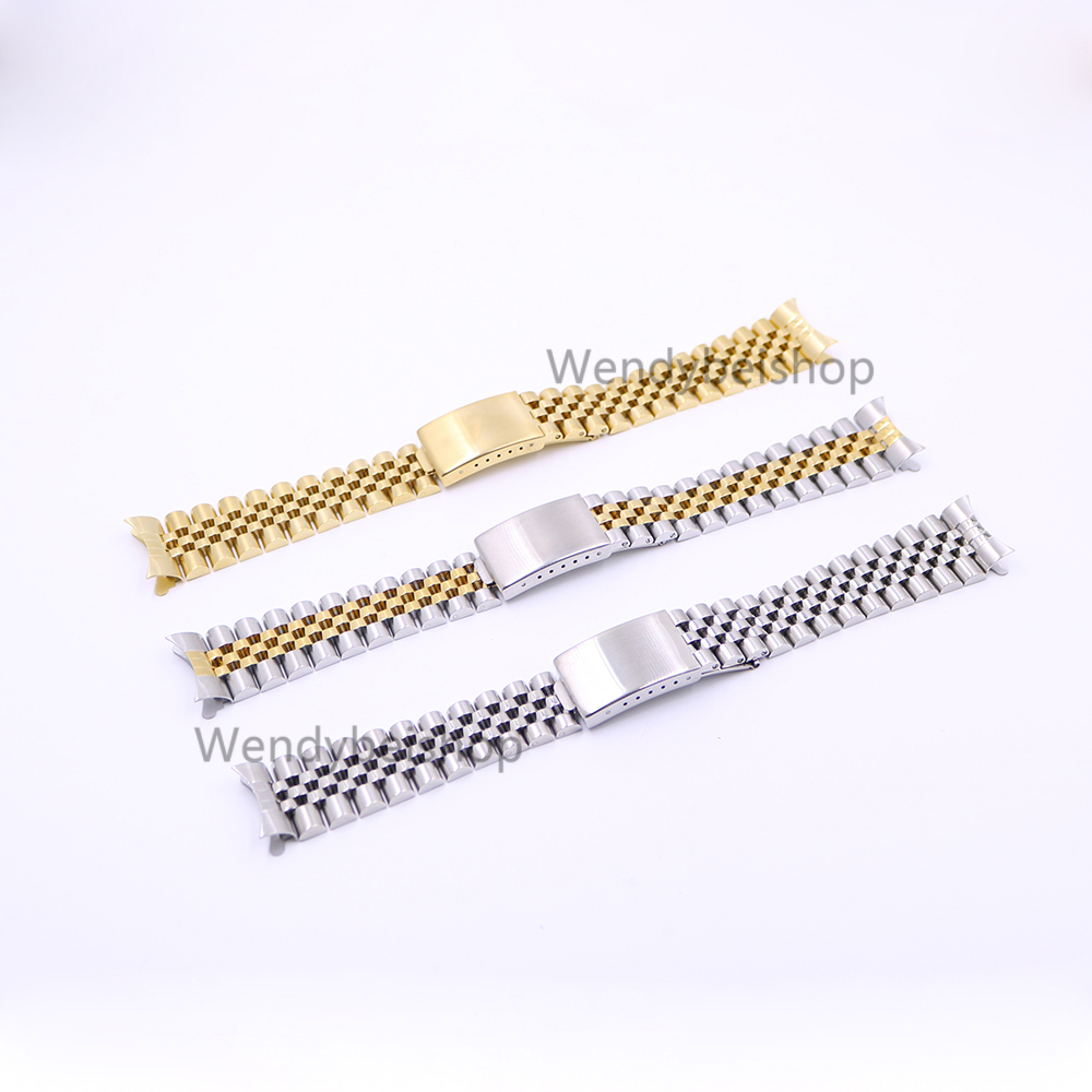 19 20 22mm Gold Two tone Hollow Curved End Solid Screw Links 316L Steel Replacement Watch Band Strap Old Style Jubilee Bracelet часы dkny ny2289 two tone gold