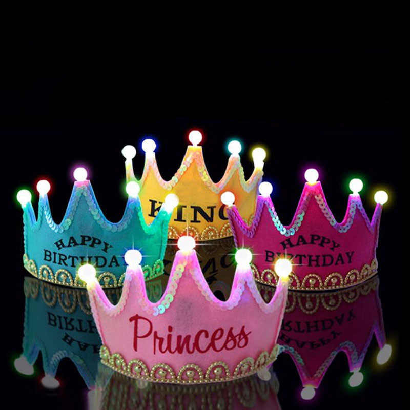 2018 New Kids Adults LED Light Up Crown Birthday Hat King Princess Flashing Happy Party