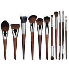 11pcs/Set Pro Women Cosmetic Brushes Set Powder Eyeshadow Foundation Face Blushes New Makeup Beauty Kits Tools 131-1047