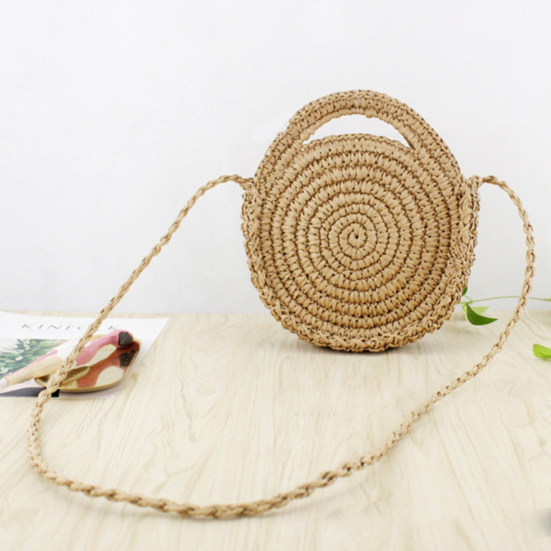 Round Paper rope Beach Bag Summer mini Vintage Handmade Crossbody Leather Bag Girls Circle Rattan bag Small Bohemian Shoulder
