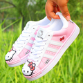 2017 Women Fashion Casual Lovely Doraemon Hello Kitty Kitten Cartoon Pattern Lacing Female Students Flat Boards Shoes