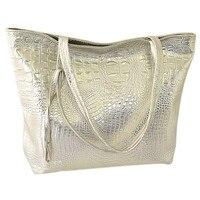 TEXU Solid Crocodile Faux Leather Women Tote Bag Gloden Silver Black Fashion Handbag Large Capacity