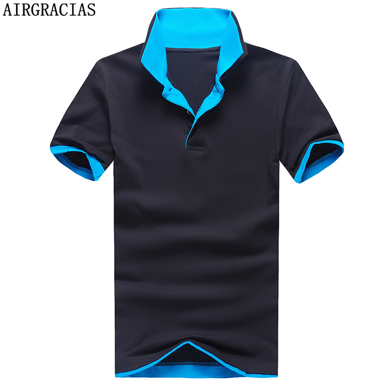 AIRGRACIAS New Men's Brand   Polo   Shirt For Men Solid Color   Polos   Men Cotton Short Sleeve Tops Casual Jerseys Tennis Dropshipping
