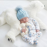 Babies Bedding Little Polar Bear Pillow Room Toy Side Sleep Pro Children Headrest Crib Sleeper Protector
