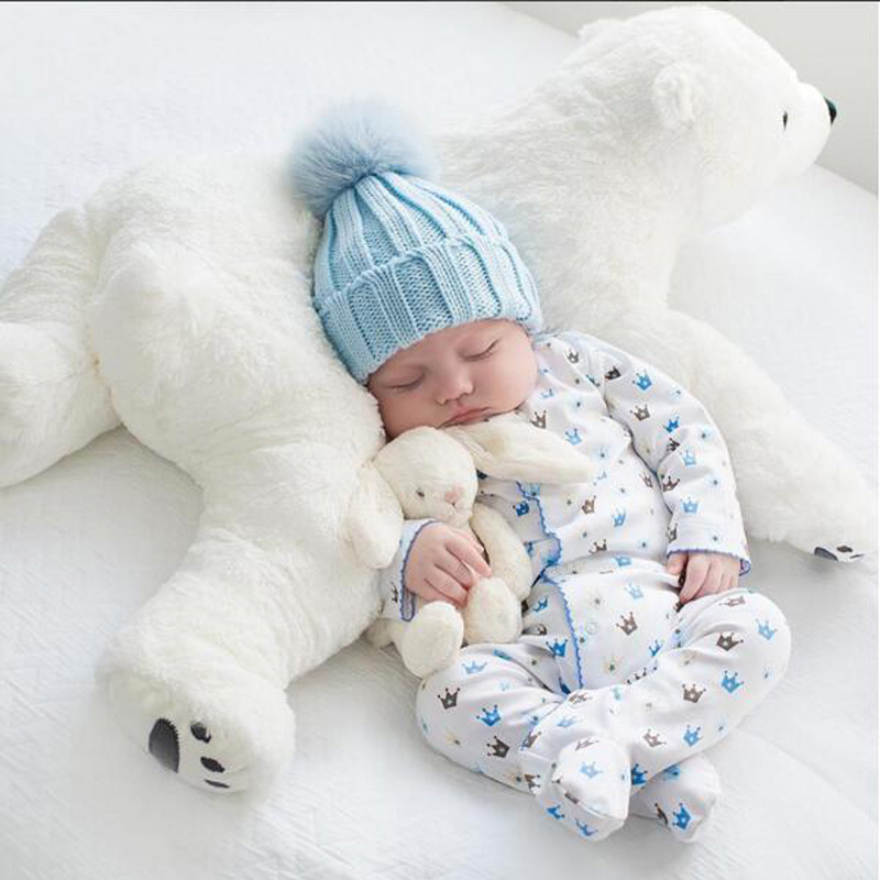Newborn Baby Pillow Polar Bear Stuffed Plush  Animals Kawaii Plush Baby Soft Toy Kids Toys For Children's Room Decoration Doll cute 45cm stuffed soft plush penguin toys stuffed animals doll soft sleep pillow cushion for gift birthady party gift baby toy