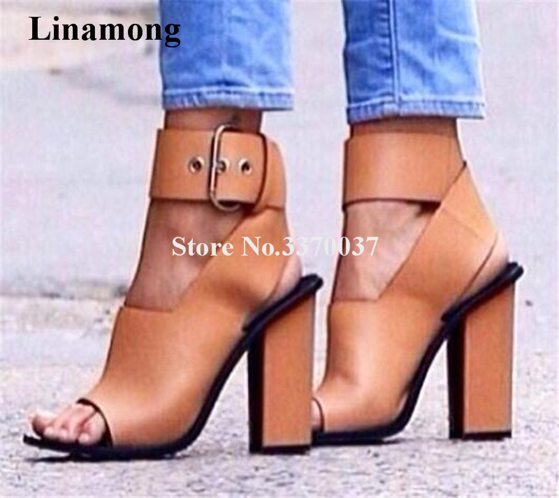 Hot Selling Women Fashion Open Toe Big Buckle Design Thick Heel Sandals Ankle Strap Cross High Heel Sandals Dress Shoes new design women fashion open toe patent leather ankle strap high heel sandals one strap dress sandals sexy dress shoes