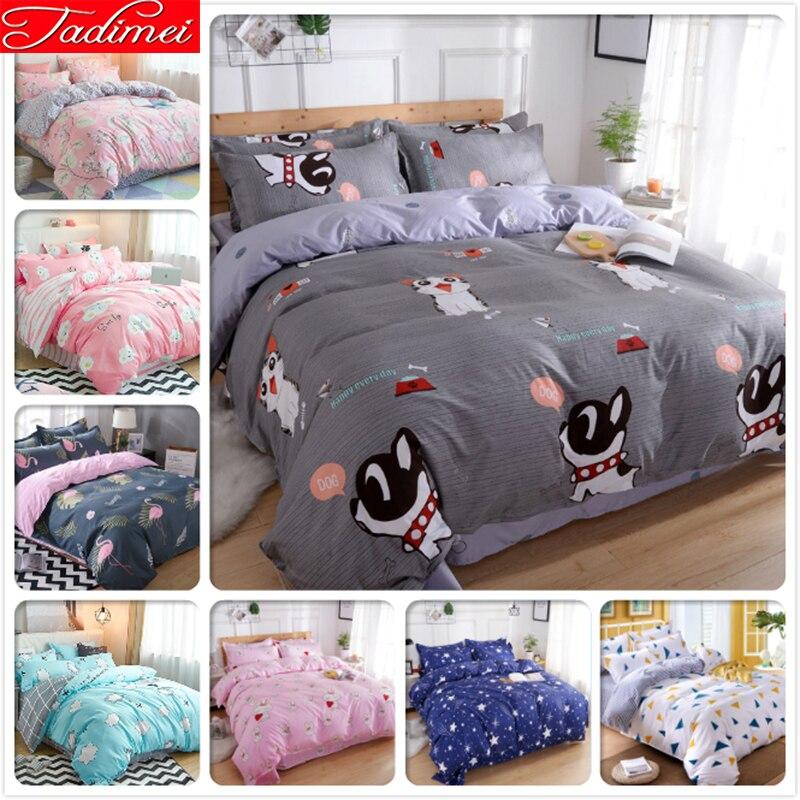 Cute Pet Cat Kitty Dog Pattern Quilt Comforter Duvet Cover 3/4 pcs Bedding Set Adult Kids Soft Bed Linen 150x200 180x220 200x230