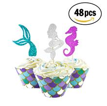 METABLE 48 pcs Mermaid Cupcake Topper Under The Sea Theme Party Favors, Tail, Seahorse Food Pick, Scale Wrapper