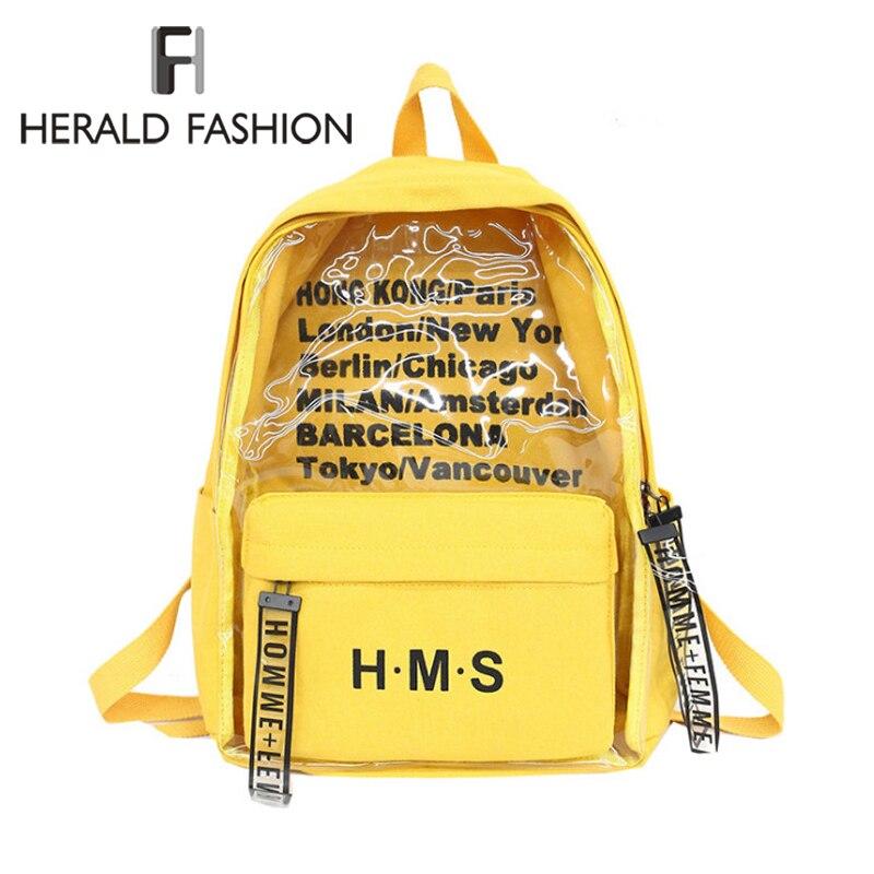 Herald Fashion Harajuku Clear Canvas Letter Women Backpacks School Bags For Teenage Girls Female Quality Travel Backpack Mochila