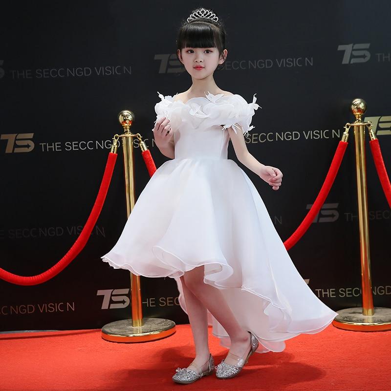Short Front Long Back Tutu Princess Dress Flower Girl Dresses Wedding Ball Gown Cute Girl's Floral Dress Birthday Kids Gown tiny floral back slit pencil dress