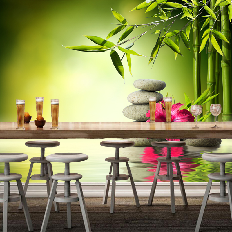 Modern home decoration wallpaper bamboo and hot spring for Decoration maison aliexpress