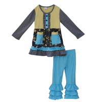 Bulk WholeSale Fall Winter Girls Clothes Long Sleeve Pocket Decoration Top Multi Ruffle Blue Pant Child