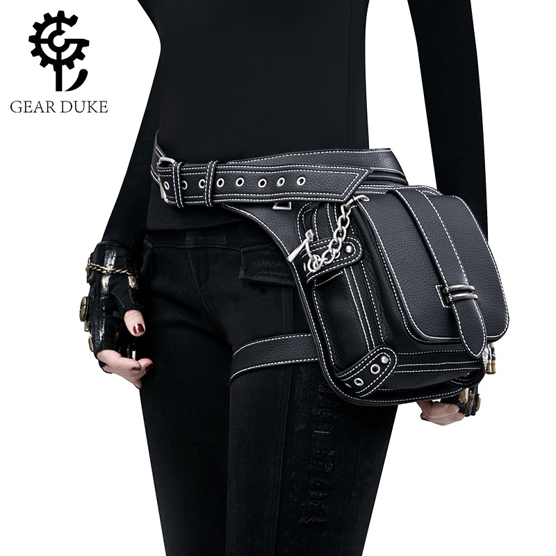 Gear Duke Vintage Steampunk Bag Retro Rock Gothic Retro Bag Goth Shoulder Waist Bags Packs Victorian Style Women Men Leg Bag