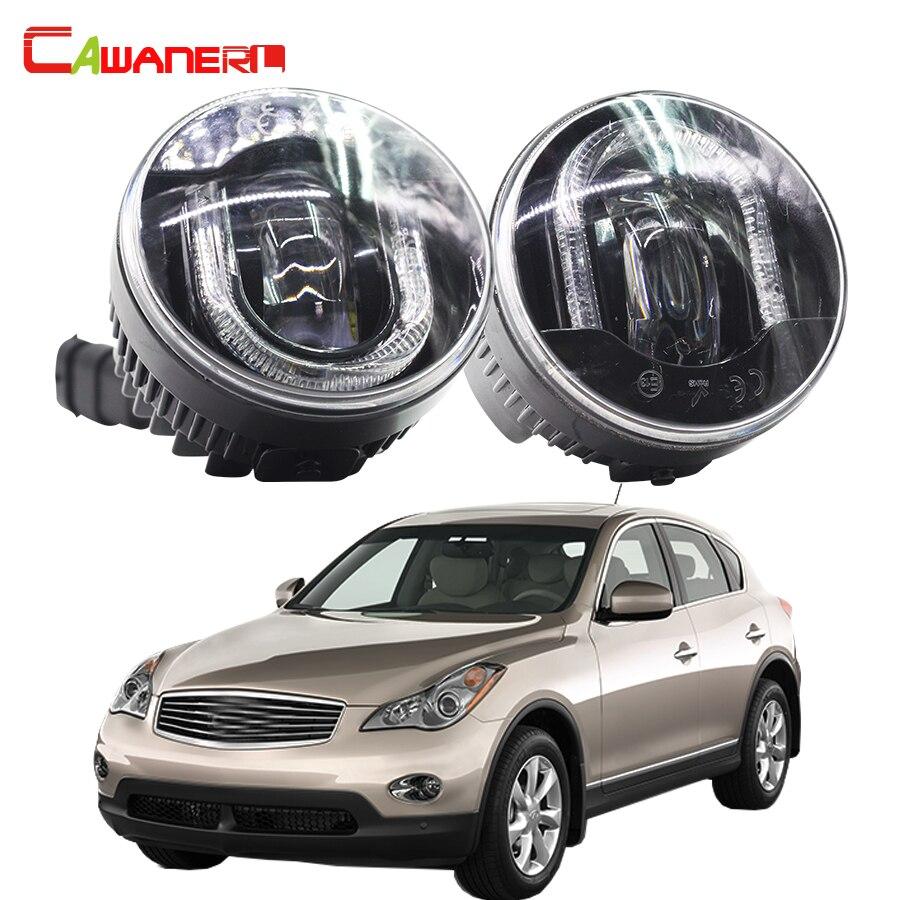 Cawanerl 1 Pair Car LED Fog Light Daytime Running Lamp DRL 12V Accessories For Infiniti EX35 3.5L V6 2008-2012 cawanerl 1 pair car led fog light daytime running lamp drl 12v accessories for infiniti ex35 3 5l v6 2008 2012