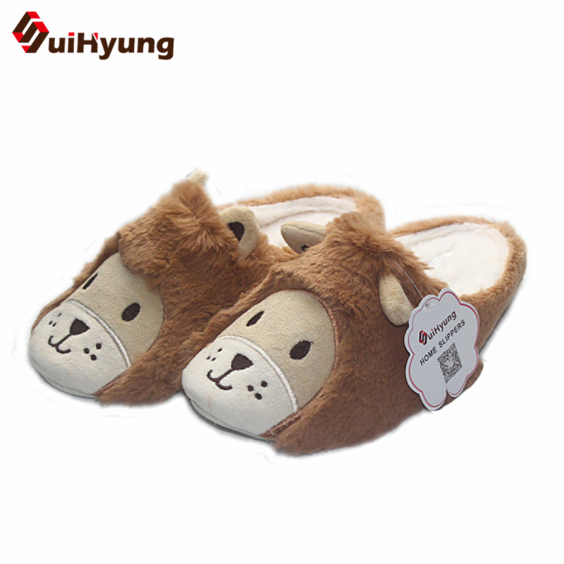 Suihyung New Women Men Winter Warm Indoor Shoes Home Slippers Cute Cartoon Lion Shape Non-slip Soft Sole Lovers Indoor Slippers