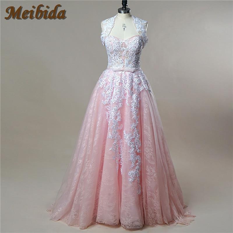 Vintage Blush Pink Lace Wedding Dresses 2017 Beaded Open