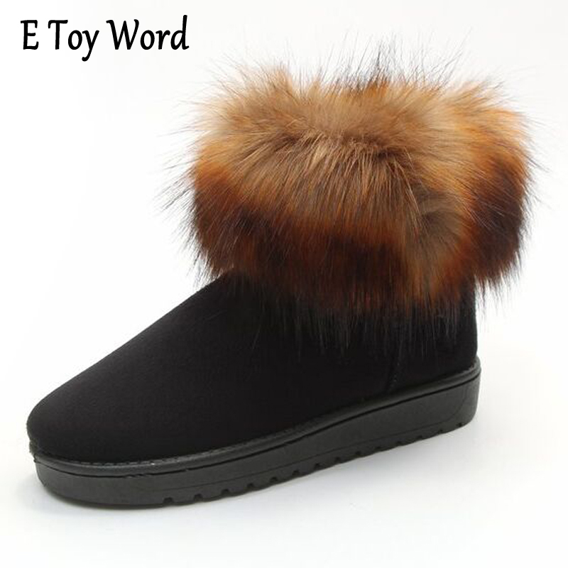 E TOY WORD Autumn Winter snow boots women fashion fox fur warm cotton short boots woman waterproof non-slip flat shoes woman segal business writing using word processing ibm wordstar edition pr only