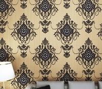 Classic Black Damask Velvet Flocking Wallpaper Sound Absorbing Tv Background