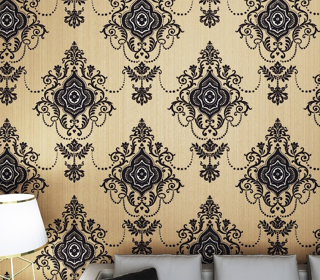 Classic black damask velvet flocking wallpaper 3d sound absorbing tv background