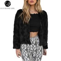 Lily Rosie Girl Faux Fur Black Long Sleeve Short Coats 2017 Autumn Winter Warm Women Crop