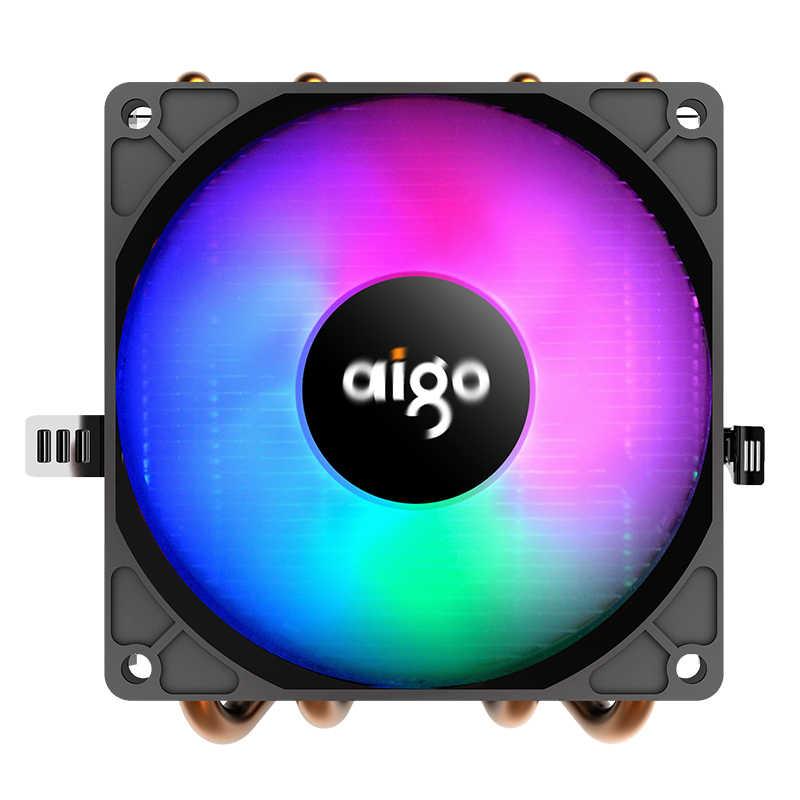 Aigo PC CPU Ventola Di Raffreddamento del dispositivo di Raffreddamento 4 Heatpipes CPU del dispositivo di Raffreddamento Ventola Del Radiatore di Alluminio del Dissipatore di Calore di Raffreddamento della CPU per LGA/115X/AM3/AM4/1366/2011