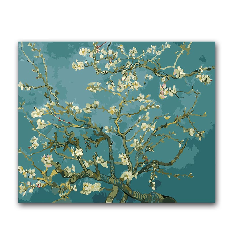 Digital painting by numbers vencent Van gogh Apricot blossom tree oil paint the number on canvas draw for coloring in Paint By Number from Home Garden