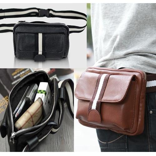 New Korean Fashion Men's PU Leather Casual Fanny Waist Shoulder Pack BAG