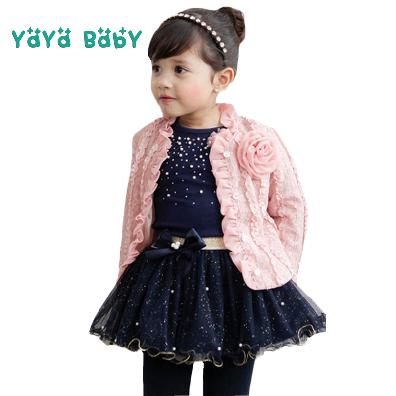 3pcs Children Clothing Set (Coat+Shirts+Skirt) 2 3 4 5 6 7 Years Girls Clothes Spring Autumn Fashion Flower Kids Suit for Girls