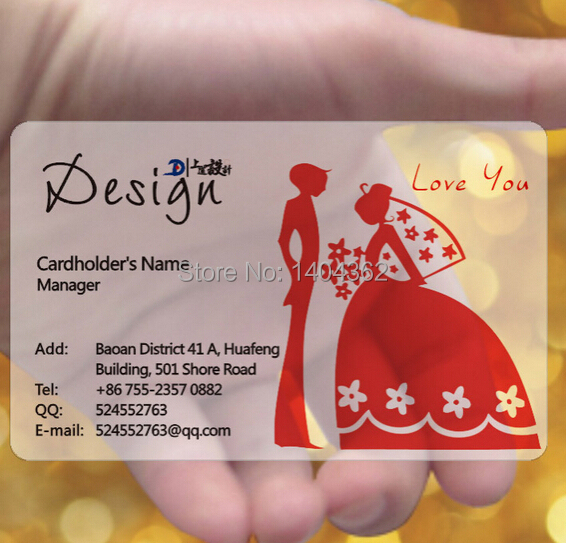 Hot Sale Free Design And Free Shipping  Custom Clear Frosted Plastic Pvc Business Card Printing, Full Color Printing