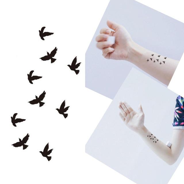 Bittb 5PCS Tattoo Black Bird Designs Waterproof Temporary Tattoo Sticker Body Art Finger Arm Decoration Fake Paste Makeup