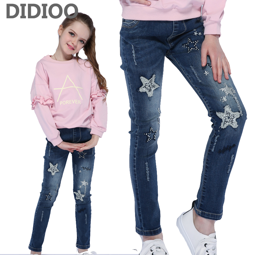 Kids Ripped Jeans For Girls Clothes Sequined Stars Print Trousers For Girls Denim Pencil Pants Elastic Waist Children Clothing