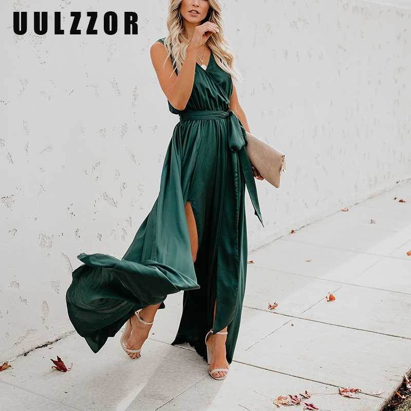 UULZZOR женское платье модное платье с Высоким Разрезом Платье Soiree сексуальное Бандажное платье макси Длинные вечерние платья вечерняя женская одежда Vestidos