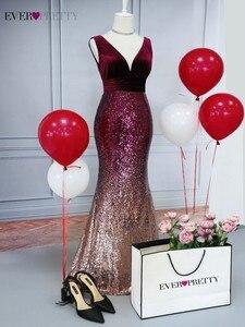 Image 5 - ブラッシュピンクウェディングドレスこれまでにかわいいEZ07767セクシーなvネックノースリーブスパンコールブルゴーニュロングパーティードレスvestidosウエディング2020