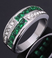 New Jewelry Fashion Size 8 Woman's Breathtaking Green Emerald Cz 18K White Gold Filled Wedding  Ring Gift  Free Shipping R011
