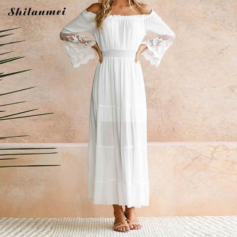 Women Sundress Long Women White Beach Dress Summer Strapless Long Sleeve Loose Sexy Off Shoulder Boho Lace Maxi Dress Vestidos
