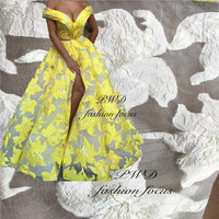 latest french blonda yellow white lace fabric African lace fabric material nigeria embroidery lace fabric wedding lace
