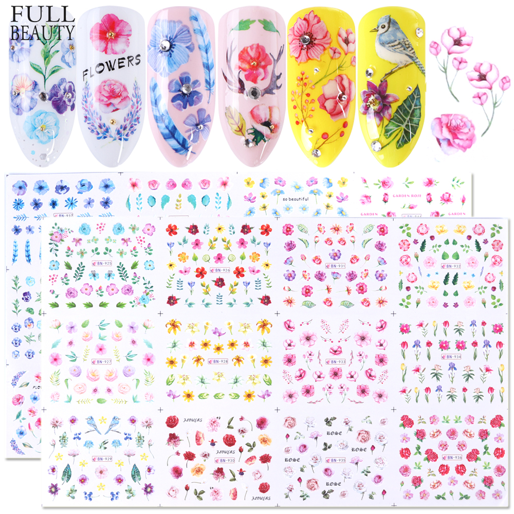Full Beauty 24pcs Flower Watermark Slider Nail Stickers Decals Colorful Plants Pattern Nail Art Decoration Manicure CHBN925-948 art