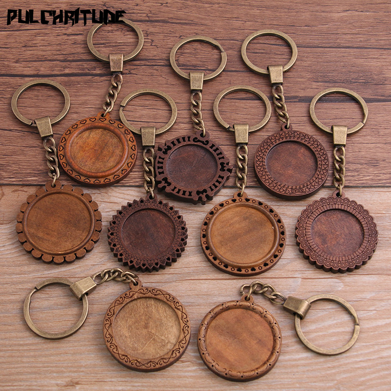 PULCHRITUDE 2pcs Round Wood Cabochon Settings Metal Keyring Accessories Diy Blank Wooden Base Trays For Bronze Key Chain P6953
