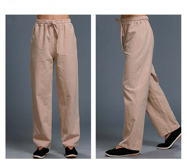 aa9abb1fec8 White Linen Pants Men Summer Casual Pants Ethnic Loose Straight Pants Long  Trousers Plus Size Drawstring