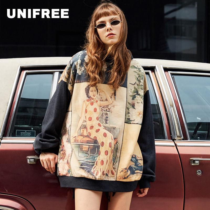 UNIFREE Autumn National Tide Sweater Women Loose Hong Kong Taste Retro Print Hooded Lazy Sweatshirt UAA183A031