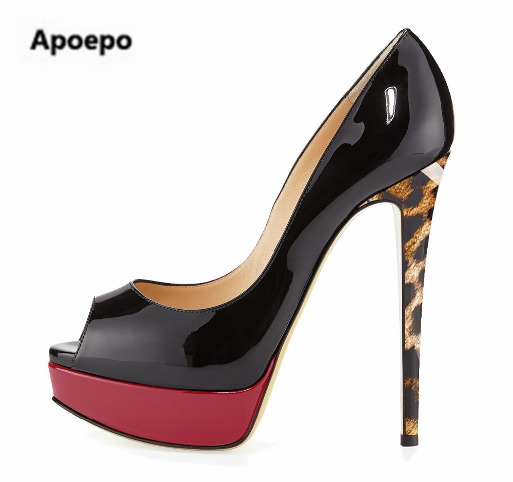Apeope brand women pumps peep toe Leopard Patent leather 14.5 cm sexy high heels pumps platform shoes women stiletto ladies shoe lasyarrow brand shoes women pumps 16cm high heels peep toe platform shoes large size 30 48 ladies gladiator party shoes rm317