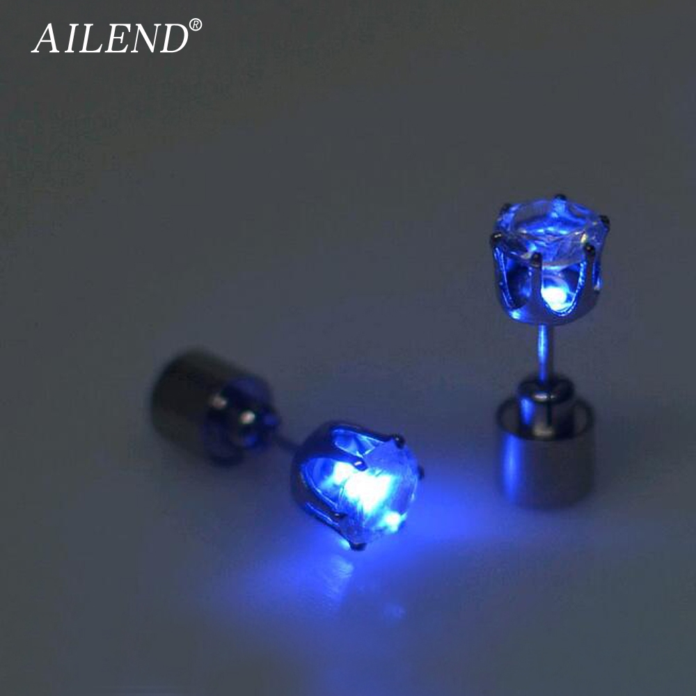 AILEND 2018 Hot sale 1 pcs. the charm of the LEDs light up to crown a glowing crystal stainless ear drops ear earring jewelry