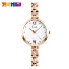 Skmei moda cuarzo relojes mujeres rhinestone de lujo 30 m impermeable reloj de vestir relojes de pulsera relogio feminino mujer relojes 1225