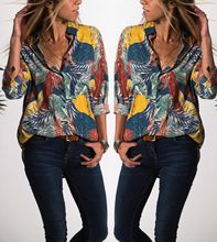 women blouses vintage shirts long sleeve shirt woman clothes boho plus size tops tropical plants print fashion 2019 new