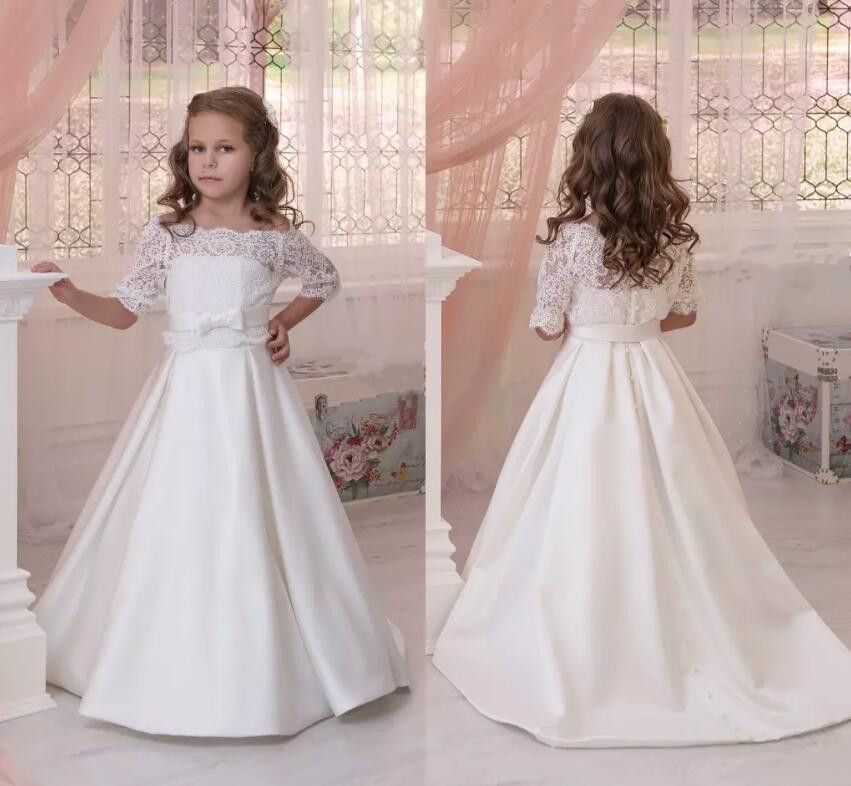 White Flower Girl Dress for Wedding 2018 Customized Off the shoulder Lace Applique First Communion Gowns Any Size