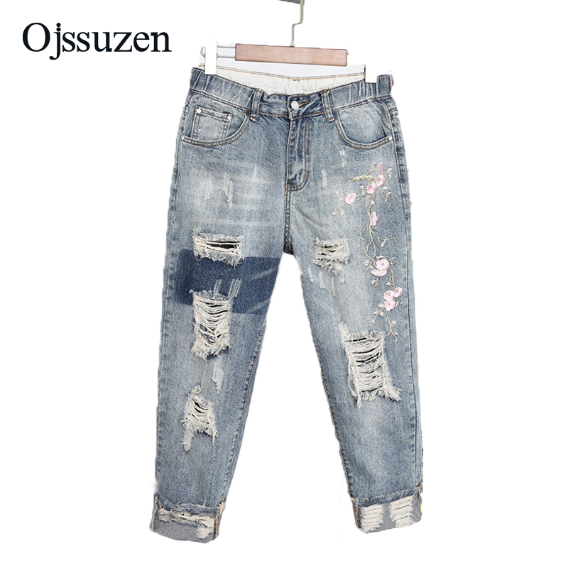 XL-5XL Washed Denim Pants For Women Plus Size Embroidery Jeans Ripped Destroyed Denim Jeans Ladies 2018 Harem Pants Trousers