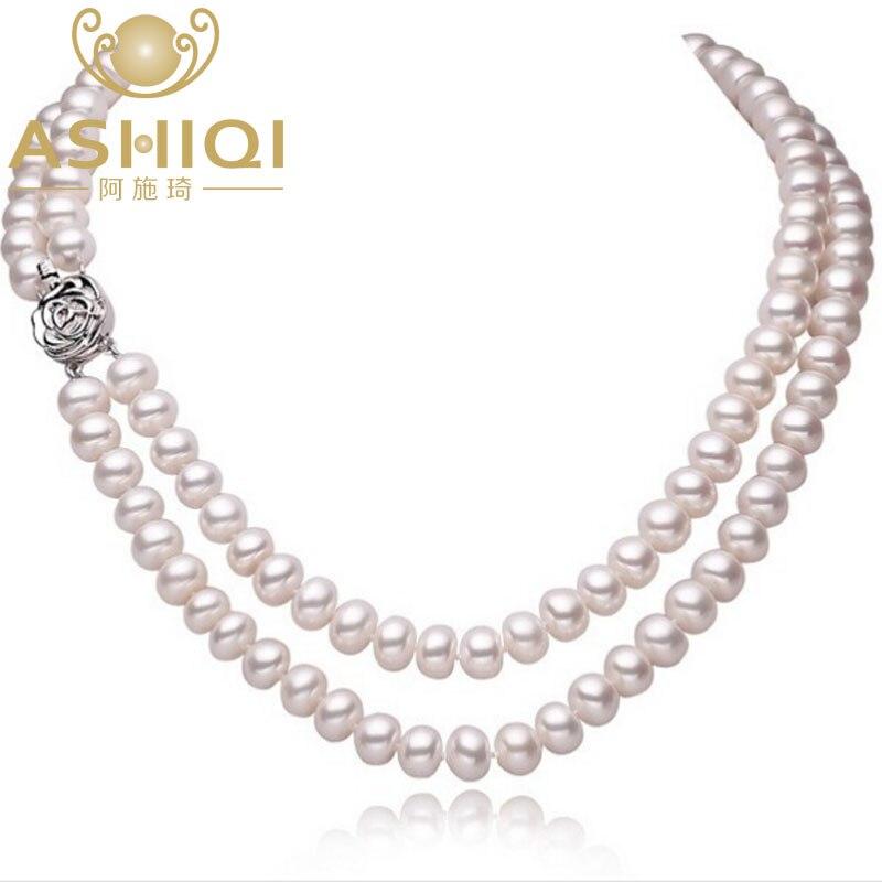 ASHIQI vrais colliers de perles d'eau douce naturelles pour les femmes avec fermoir 2 rangées de perles bijoux cadeau de la mère