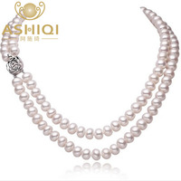 100 AAAA Natural Fresh Water Pearl Necklace With 8 9mm Big Pearls 925 Sterling Silver For