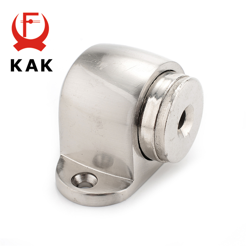 KAK Zinc Alloy Door Stop Casting Powerful Floor mounted Magnetic Holder 54mm 35mm Satin Nickel Brushed Door Stopper in Door Stops from Home Improvement